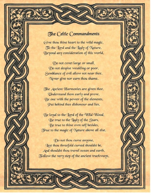 Book of Shadows Spell Pages ** Celtic Commandments ** Wicca Witchcraft BOS