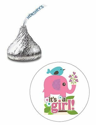 108 ITS A GIRL ELEPHANT BIRD BABY SHOWER HERSHEY KISS KISSES CANDY STICKERS ***