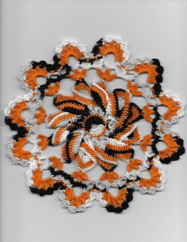 Halloween Fall Pinwheel Handmade Crochet doily Pumpkin Zebra colors round 8 1/2