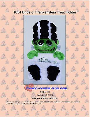 Bride of Frankenstein Treat Holder-Halloween- Plastic Canvas Pattern or - Bride Of Frankenstein Halloween