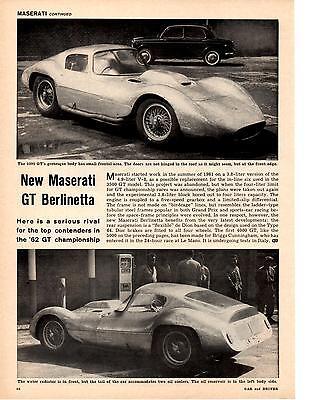 1962 MASERATI GT BERLINETTA  ~  GREAT ORIGINAL ARTICLE / AD
