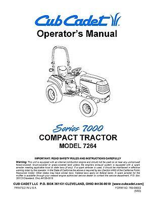 Cub Cadet 7264 Compact Tractor Operator Maint Manual Service Parts Manual Cd