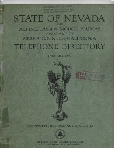 1939 - NEVADA TELEPHONE DIRECTORY -ALL OF NEVADA - BELL TELEPHONE
