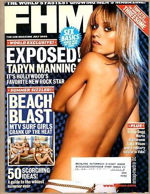 FHM MAGAZINE - JULY 2003 - COVER: TARYN MANNING + PIERCE TRIPLETS + BEACH BLAST