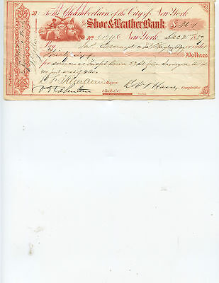 "NEW YORK CITY MAYOR ""DANIEL TIEMANN"" SIGNED 1859 CHECK (GREAT HISTORICAL ITEM)"