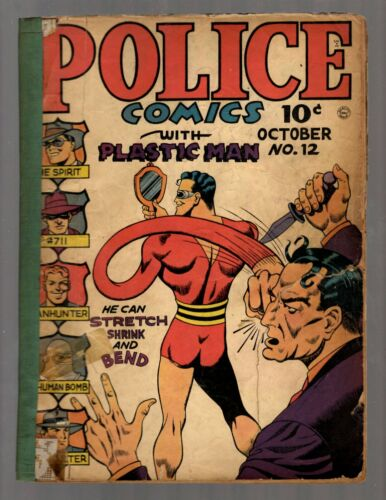Police Comics # 12 GD 1942 Quality Comics Plastic Man Comic Book The Spirit NE5