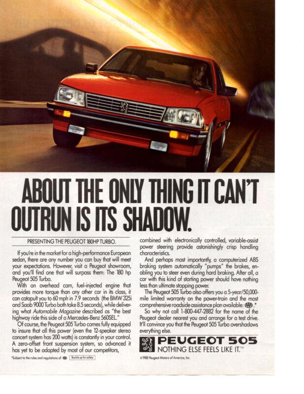 1987 PEUGEOT 505 180HP TURBO  ~  CLASSIC ORIGINAL PRINT AD