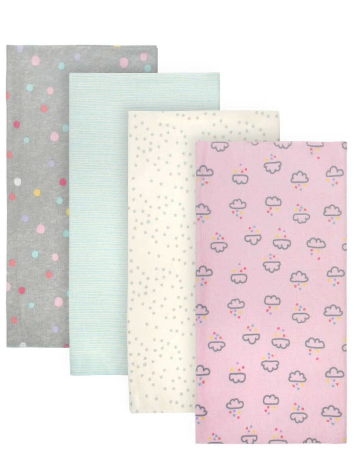 Gerber Baby Girl Flannel Receiving Blankets  - Pink Gray Aqu