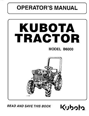 Kubota Tractor B6000 Operators Maintenance Manual Diesel Engine