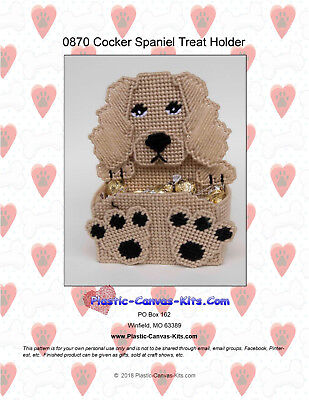 Cocker Spaniel Treat - Cocker Spaniel Dog Treat Holder- Plastic Canvas Pattern or Kit
