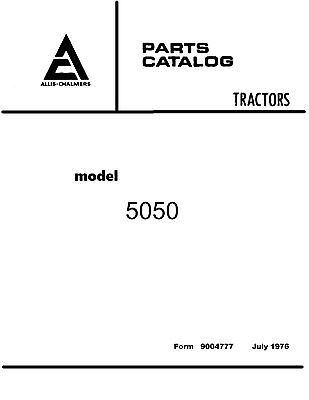 Allis Chalmers 5050 Tractor Parts Catalog Book Reproduction