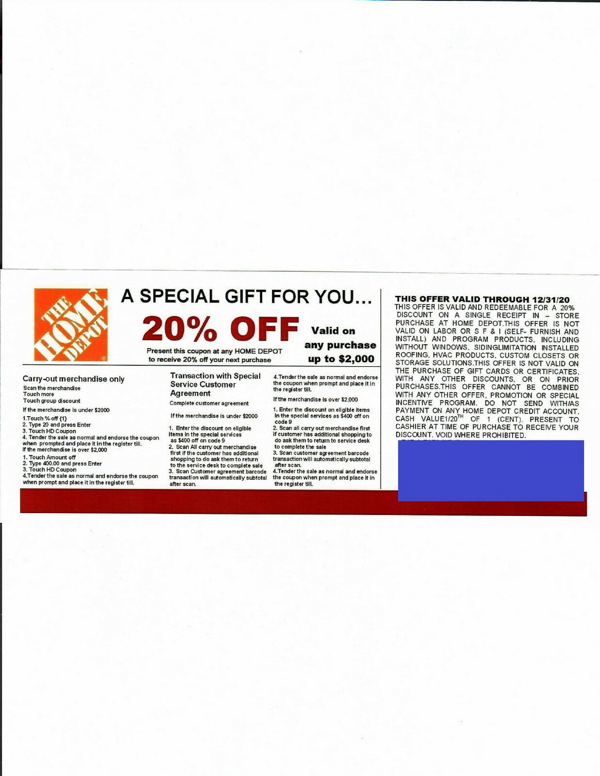 4 20 OFF HOME DEPOT Competitors Coupon To Use At Lowe s Expires 12/31/20 - $41.00