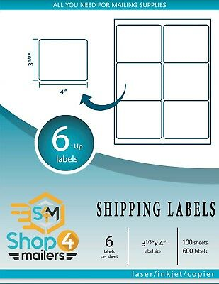 Shop4mailers 6-up White Shipping Labels 200 Sheets 1200 Labels Free 2 Day Ship