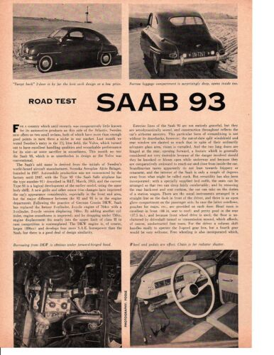 1957 SAAB 93 ~ ORIGINAL 2-PAGE ROAD TEST / ARTICLE / AD