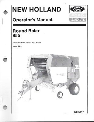 New Holland 855 Round Baler Operator Manual Above Serial Number 706837