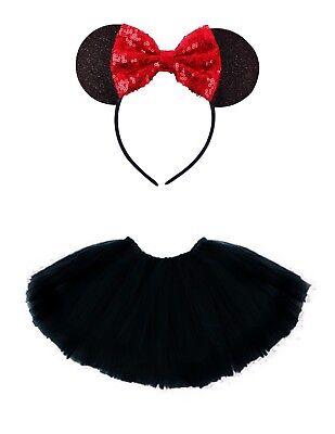 Mini Maus Mäuschen-Set Kinder Kostüm Tütü Haarreif  Glitzer Ohren 2-tlg Schwarz