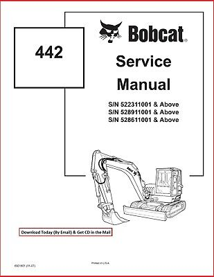 Bobcat 442 Compact Excavator Service Workshop Repair Manual Cd