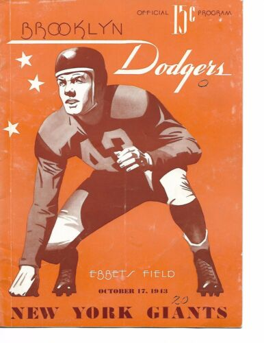 1943 Brooklyn Dodgers- Giants Program Giants Blank Brooks RARE!!