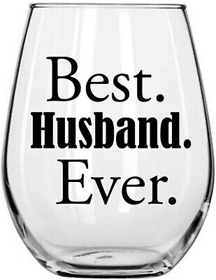 Best Husband Ever 15oz Stemless Wine Glass - Unique Present for Hubby from