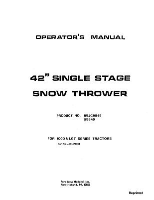 New Holland Ford Se37-6001 42 Snow Thrower Lgt Attachment Operators Manual