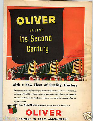 1948 PAPER AD Tractor Farm Machinery Oliver Chicago Illinois Fleet Agriculture