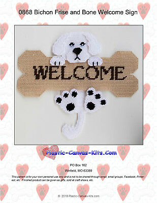 Bichon Frise and Bone Welcome Sign- Plastic Canvas Pattern or Kit ()