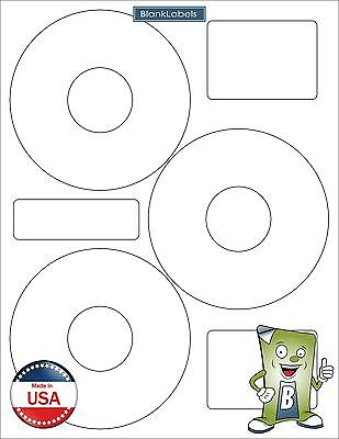 75 CD DVD Disk Laser / Ink Jet Labels Compatible Neato CLP-192301. 25 Sheets 3up Disc Label Templates