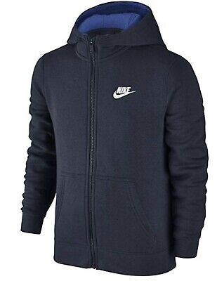 Nike Boys Full Zip-Up Hoodie Jacket Sweatshirt Jacket Blue NWT 805499-451