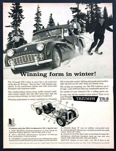 1960 Triumph TR-3 Convertible on Ski Slope Skiing Skiers photo vintage print ad