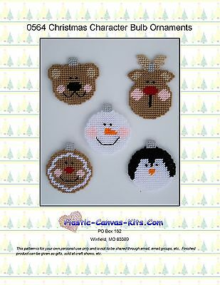 Christmas Character Bulb Ornaments-Reindeer-Bear-Plastic Canvas Pattern or Kit ()