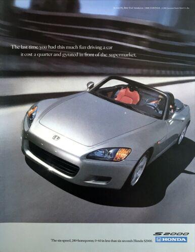 "2001 Honda S2000 Convertible photo ""Makes Driving Fun Again"" vintage print ad"