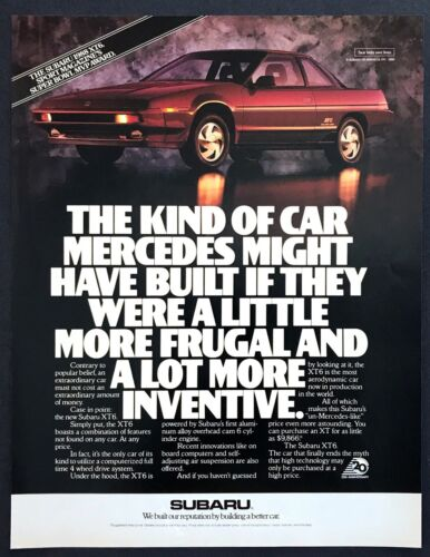 "1988 Subaru XT6 Coupe photo ""Most Aerodynamic Car in Production"" promo print ad"