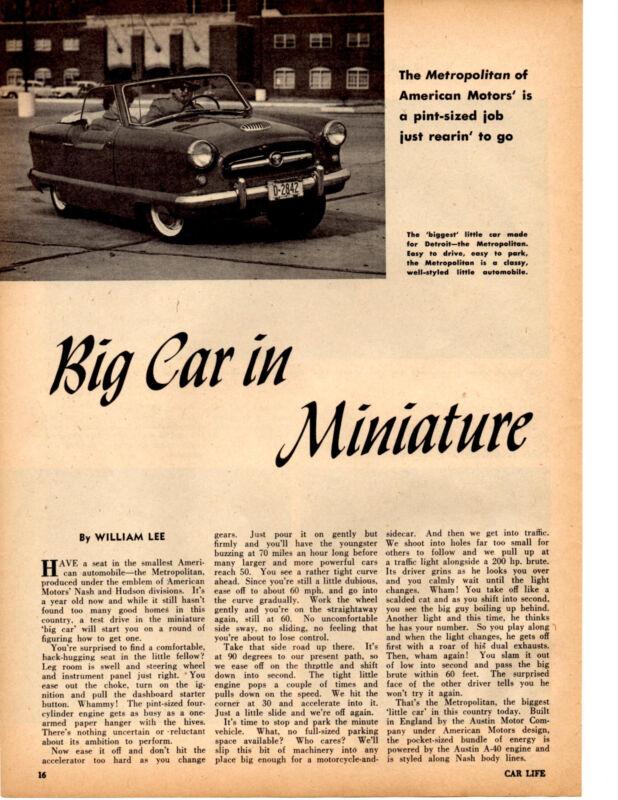 1955 AMC METROPOLITAN    ~   GREAT ORIGINAL 2-PAGE ARTICLE / AD