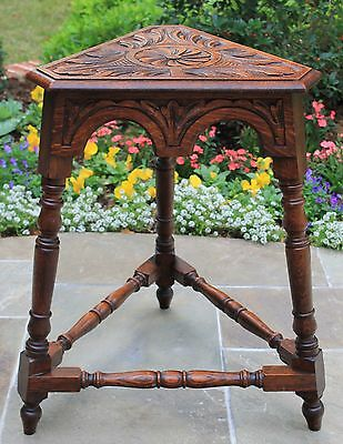 Antique English Table Bench Stool Carved Oak Triangular Occasional End Table - English Occasional Table
