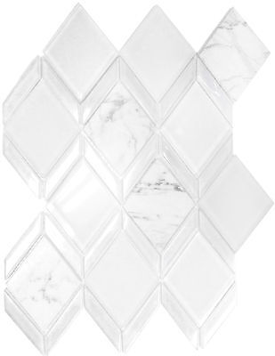 Diamond White Polished & Frosted Glass & Carrara Marble Kitchen Bath Mosaic-11