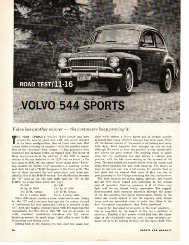 1962 VOLVO 544 SPORTS ~ ORIGINAL 4-PAGE ROAD TEST / ARTICLE / AD