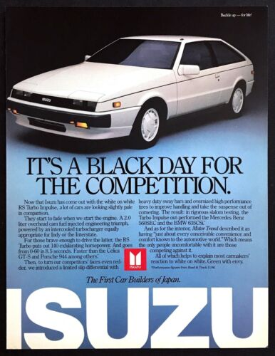 1987 Isuzu White RS Turbo Impulse photo Black Day for Competition promo print ad