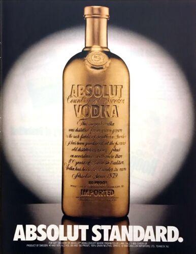 1992 Absolut Standard Absolut Vodka Gold Bottle photo vintage promo print ad