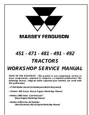 Massey Ferguson 451 471 481 491 492 Tractor Technical Workshop Service Manual