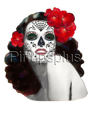 Sexy Day of the Dead Tattoo Pinup Girl Waterslide Decal Sticker S423