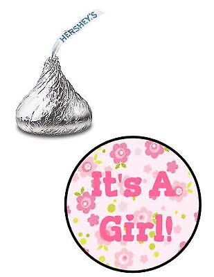 108 ITS A GIRL BABY SHOWER FLOWERS HERSHEY KISS KISSES CANDY LABELS FAVORS