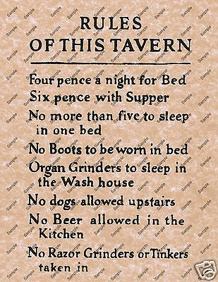 RULES OF THIS TAVERN OLD WILD WEST POSTER WESTERN BAR SALOON DECOR PICTURE 069 (Old Western Saloon Decor)