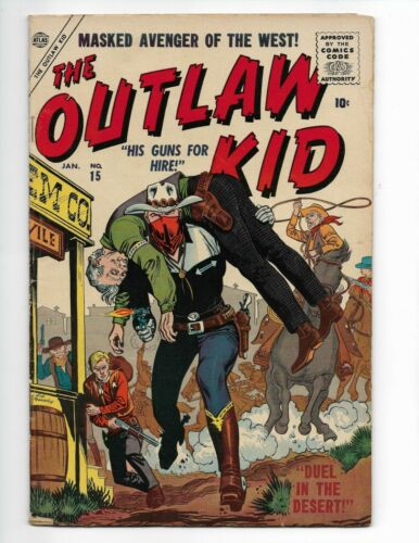 1954 OUTLAW KID #15 Golden Age Western Atlas Comics  HARD TO FIND KEY!!