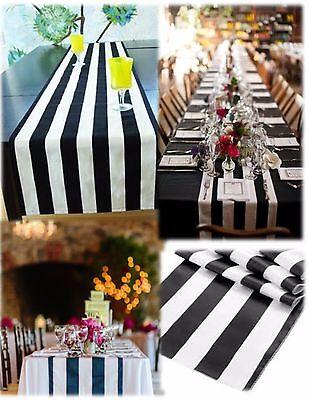 """Black and white Table Runner 108"""" 3D Black White Striped satin"""