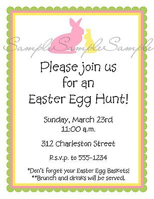 Easter EGG Hunt PINK Yellow BUNNIES Birthday Baby Party Invitations GIRL (Easter Birthday Party Invitations)