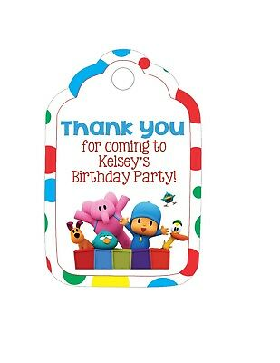 - Personalized Custom Birthday Party Favor Tags. Pocoyo! with your child's name