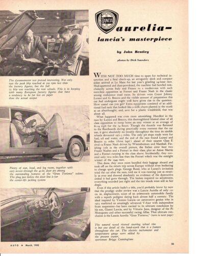 1952 LANCIA AURELIA ~ ORIGINAL 3-PAGE ARTICLE / AD