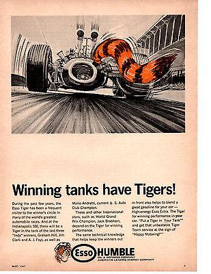 1967 FORMULA 1 RACING / INDY 500 / GRAND PRIX  ~  ORIGINAL HUMBLE OIL AD