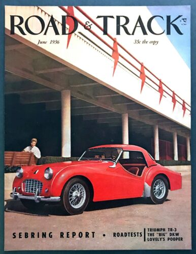 1956 Triumph TR-3 Convertible photo June Road & Track Magazine COVER ONLY