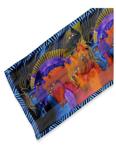 "Laurel Burch #LBS177 Wild Horses of Fire 53"" X 11"" 100% Silk Artistic Scarf~New"
